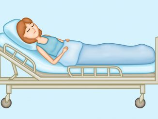Lady lying on a hospital bed